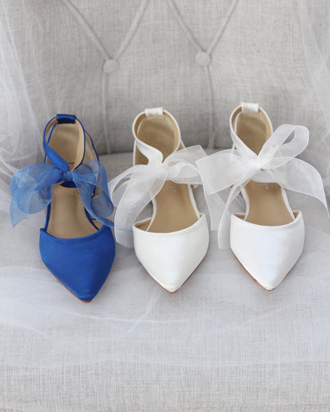 WHITE SATIN Pointy Toe Flats with Chiffon Ankle Strap