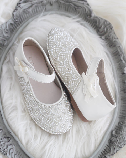 flower girl white shoes