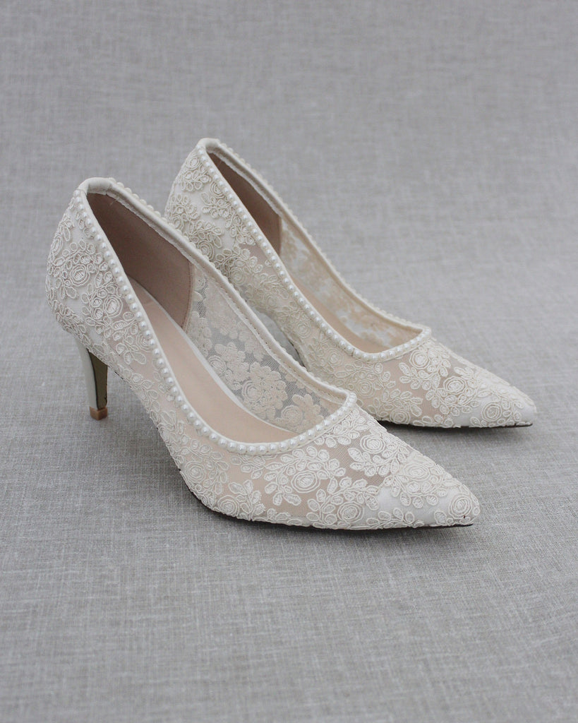 Ivory Crochet Lace Pointy toe PUMPS with Mini Pearls