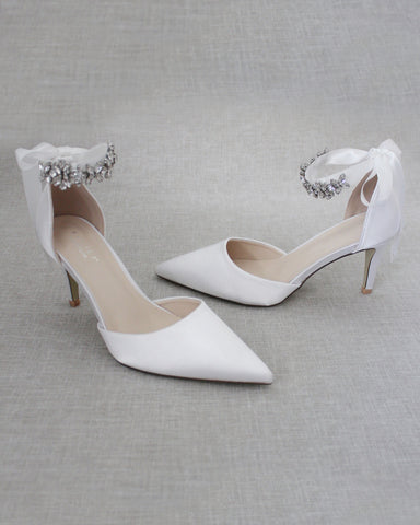 WHITE Satin Pointy Toe HEELS with FLORAL RHINESTONES Ankle Strap