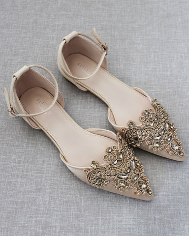 CHAMPAGNE Satin Pointy Toe Flats with Rhinestones OVERSIZED APPLIQUE Embellishments