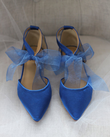 ROYAL BLUE SATIN Pointy Toe Flats with Chiffon Ankle Strap