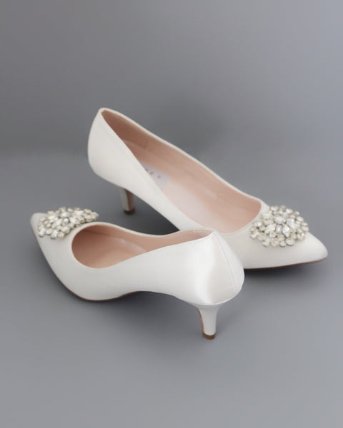 low heel off white wedding shoes