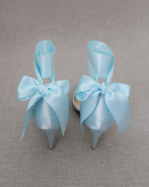 LIGHT BLUE Satin Pointy Toe HEELS with SATIN TIE