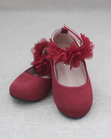 BURGUNDY Satin Flats with Chiffon Flowers Ankle Strap