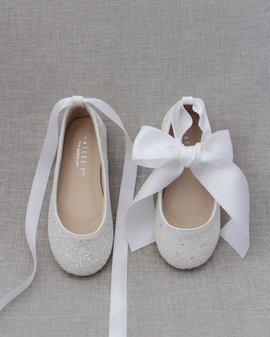 WHITE Rock Glitter Ballet Flats With Satin Ankle Strap