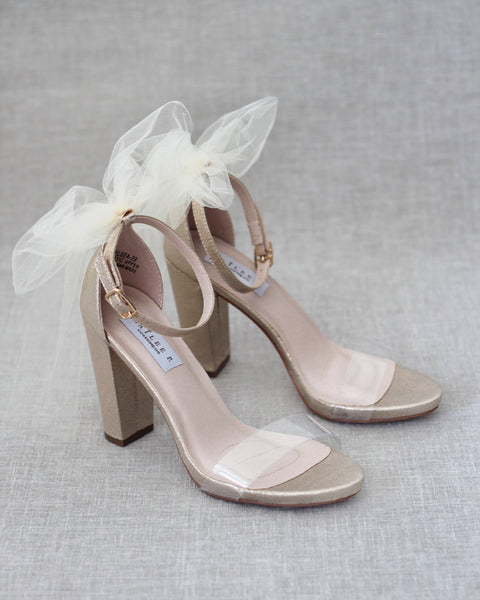 Lucite GOLD Shimmer Block Heel Sandals with Back Bow