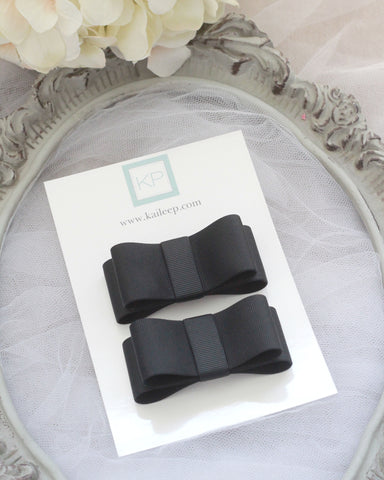 Black Grograin Tuxedo Bow HAIR CLIP or SHOE CLIP