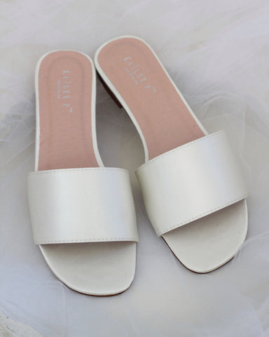 Women IVORY SATIN Slip on Sandals