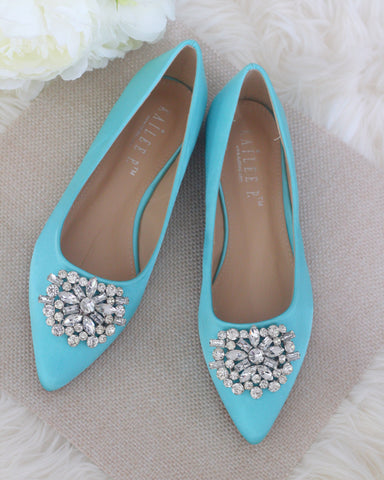 4b935a3d96a7 Kailee P.  59.00 · BLUE Satin Pointy Toe Flats with Oversized Brooch