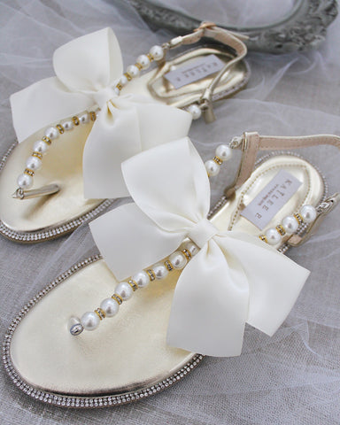 Girls - GOLD T-Strap Pearl Flat Sandals with Oversized Satin Bow