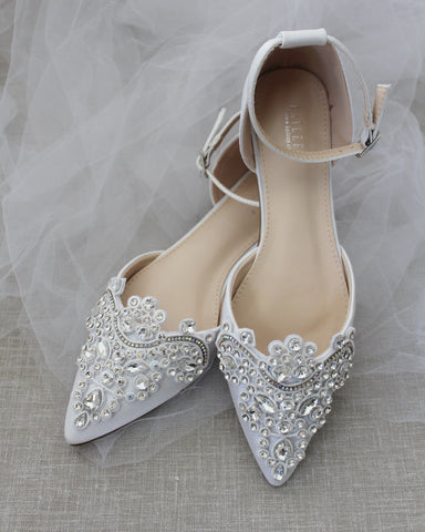 WHITE Satin Pointy Toe Flats with Rhinestones OVERSIZED APPLIQUE Embellishments