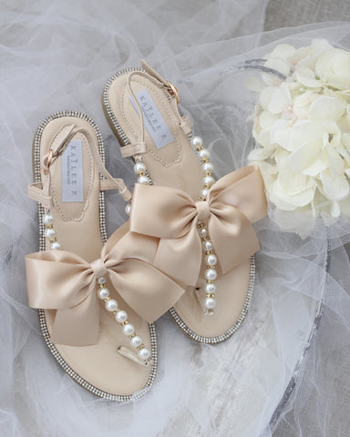 Girls - BEIGE T-Strap Pearl Flat Sandals with Oversized Satin Bow