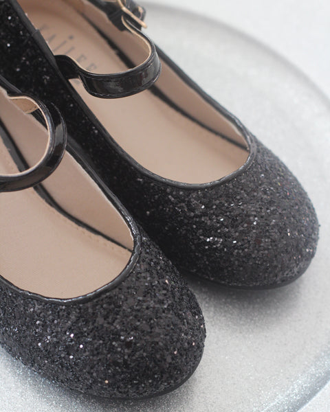 black glitter shoes with heels for kids