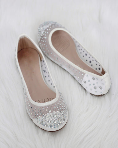 Harper - White Embellished Mesh Flats ,Women Shoes- Kailee P