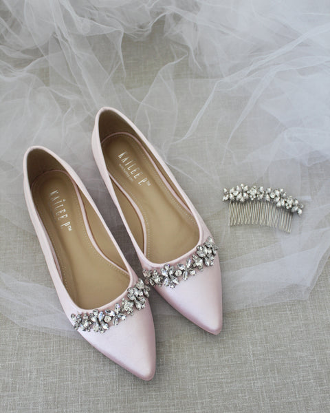 PINK Satin Pointy Toe Flats with FLORAL RHINESTONES Embellishments