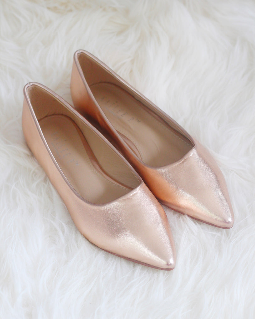 5757d54871bc ROSE GOLD METALLIC Pointy Toe Flats – Kailee P. Inc.