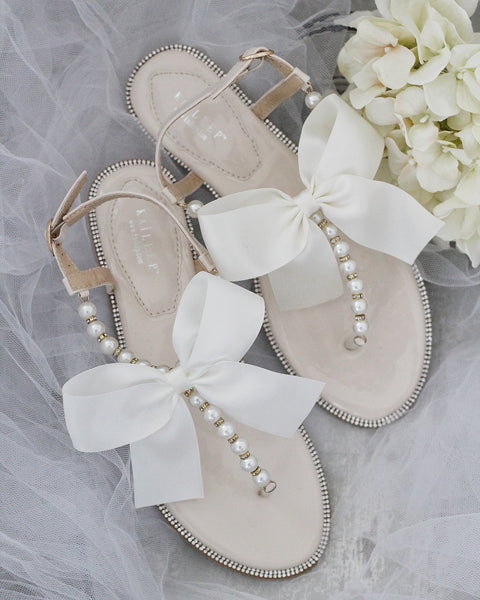 LIGHT BEIGE T-Strap Pearl Flat Sandals with Oversized Satin Bow
