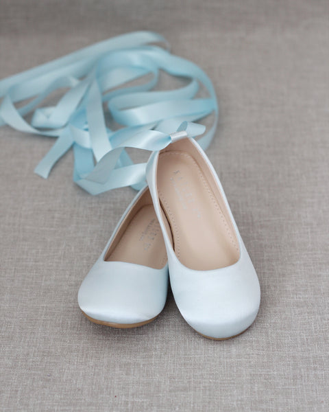 LIGHT BLUE Satin Ballerina Lace Up Flats