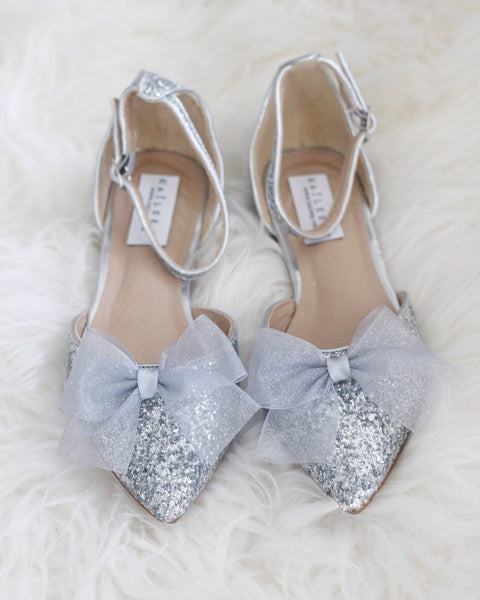 silver glitter pointed toe shoes
