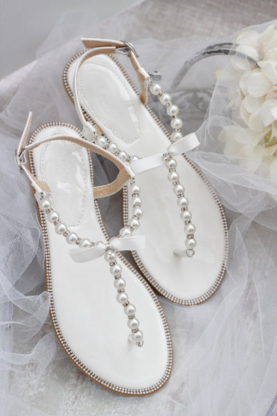 Women Pearl Flat Sandals - Off White/ SILVER T-strap with Pearls & Rhinestones Embellished Flat Sandals