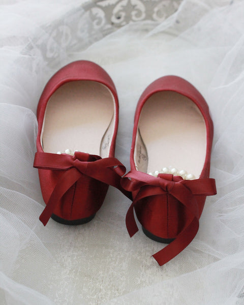 BURGUNDY Satin Flats with Pearls Ankle Strap