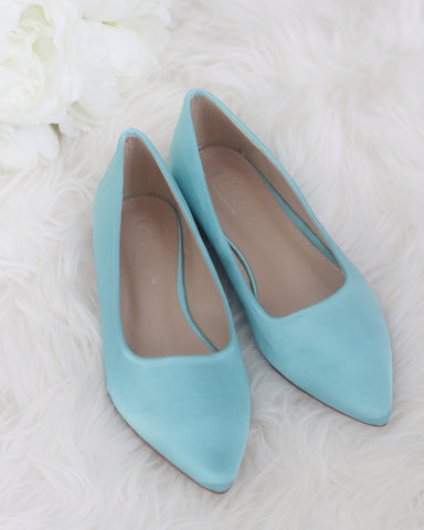 TEAL BLUE Satin Pointy Toe Flats