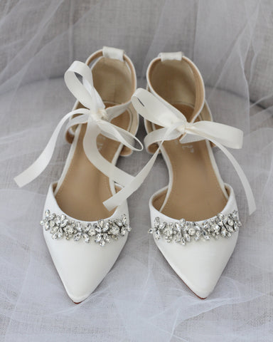 IVORY SATIN Pointy Toe Flats with Rhinestones Embellishments