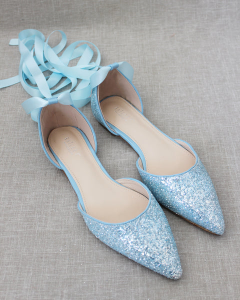 LIGHT BLUE Rock Glitter Pointy Toe Flats with Satin Ankle Tie or Ballerina Lace Up