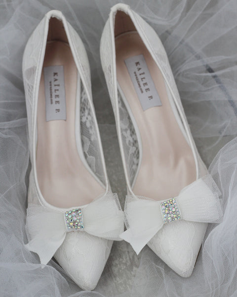 WHITE NEW LACE Pointy toe Heels with Embellished Mesh Bow