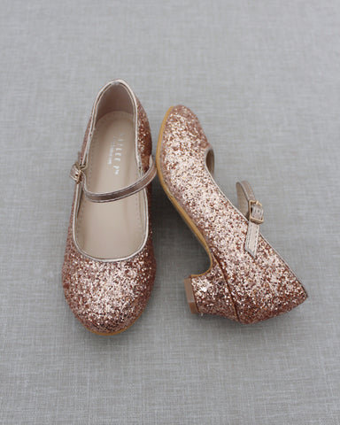 ROSE GOLD Rock Glitter Mary Jane with Glitter Heels