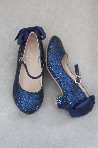 MIDNIGHT BLUE Rock Glitter Mary Jane Heels With Satin Bow