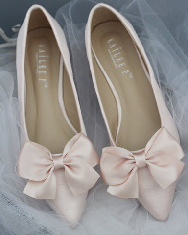 3232a26a397e Kailee P.  65.00 · BLUSH Satin Pointy Toe Flats with Oversized Bow