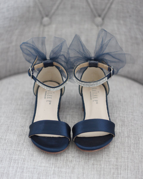 navy blue heels with tulle