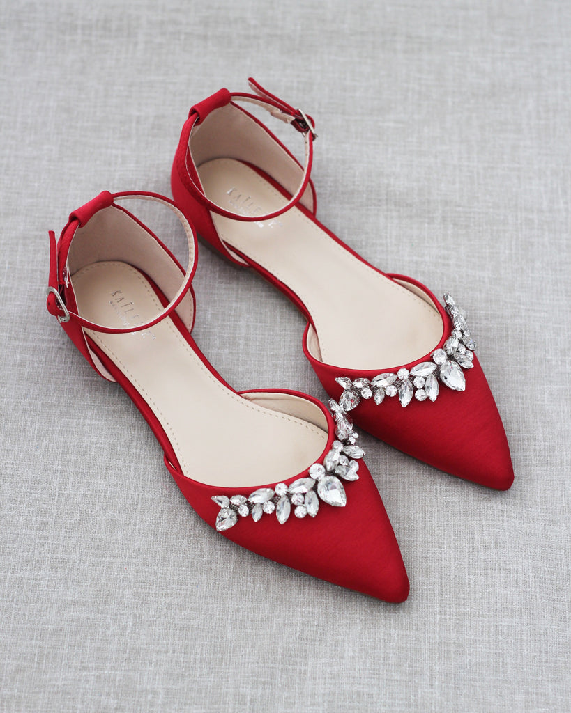 Red Satin Pointy Toe Flats with TEARDROP RHINESTONES Embellishments