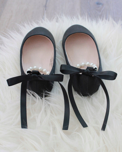 BLACK Satin Flats with Pearls Ankle Strap