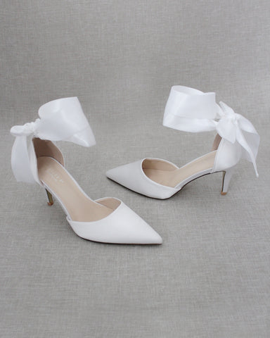 WHITE Satin Pointy Toe HEELS with SATIN TIE