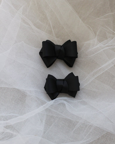 Black Grosgrain Bow HAIR CLIP or SHOE CLIP