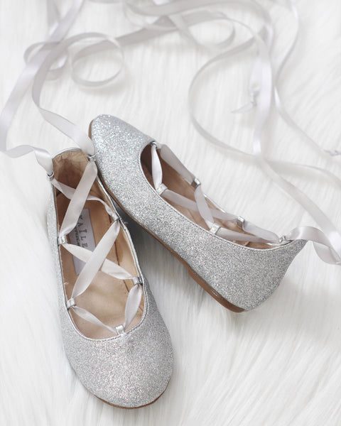 Infant & Toddler girl shoes -SILVER fine glitter ballerina flats with satin ribbon lace up ,Kids Shoes- Kailee P