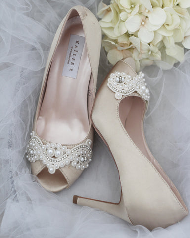 CHAMPAGNE Satin Peep Toe Heel with Pearls Applique