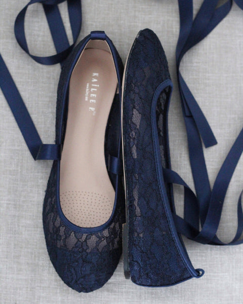 NAVY LACE round toe BALLERINA Lace up flats