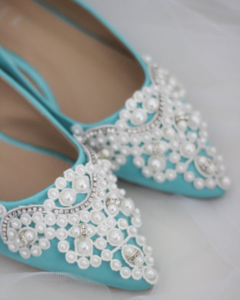 TEAL BLUE Satin Pointy Toe Flats with Pearls Applique