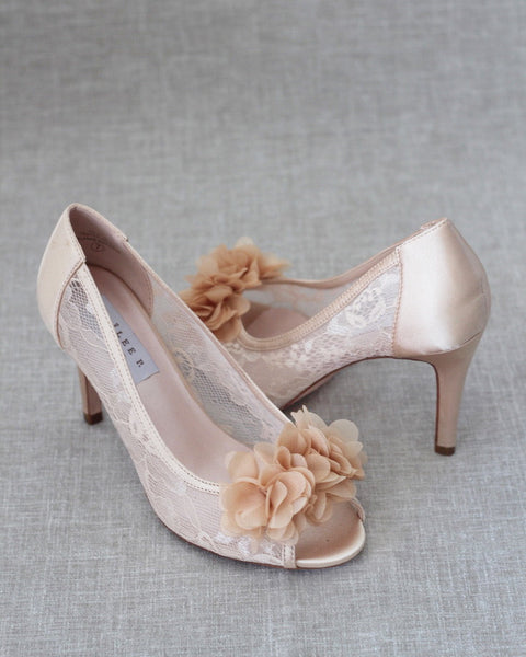 CHAMPAGNE New Lace Peep Toe Heel with Chiffon Flowers