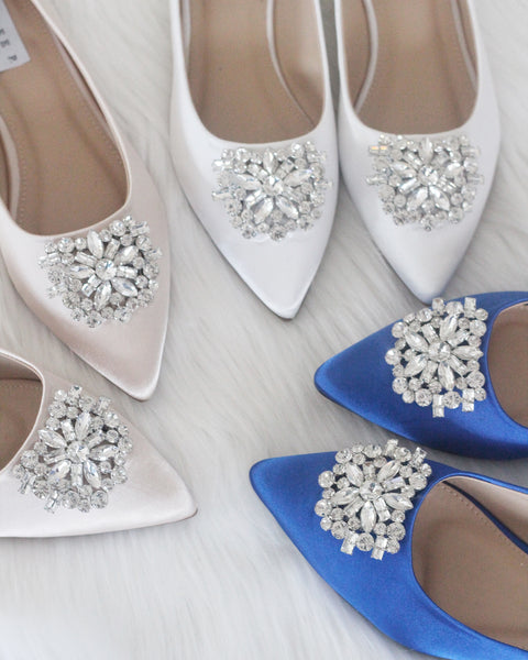Women Satin Shoes - ROYAL BLUE Pointy Toe Flats with Oversized Rhinestone Brooch ,Women Shoes- Kailee P