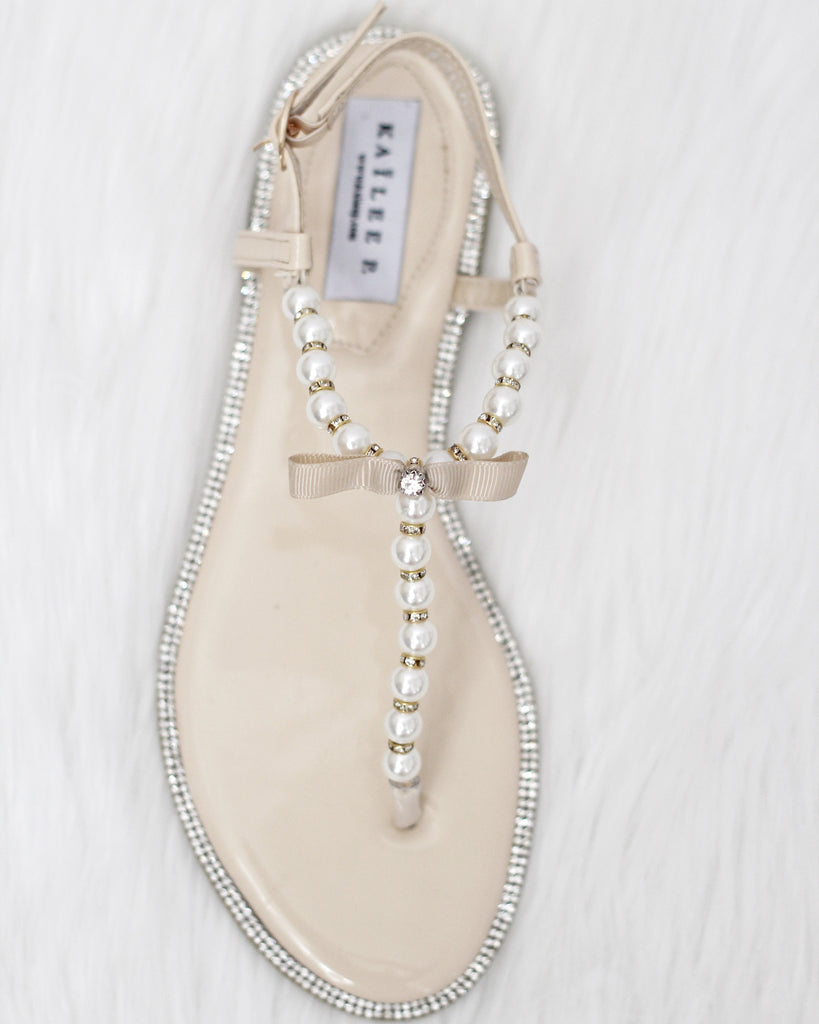 8d1df9a6d6ea BEIGE T-Strap Wedding Pearl Sandals With Rhinestones Embellishments
