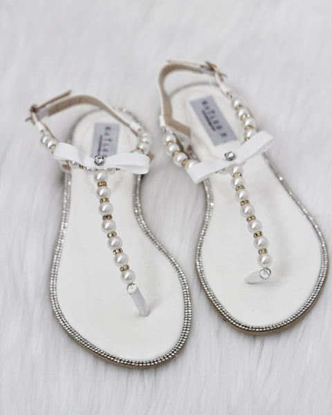 Women Pearl Flat Sandals - White Pearls & Rhinestones T-strap Embellished Flat Sandals ,Women Shoes- Kailee P