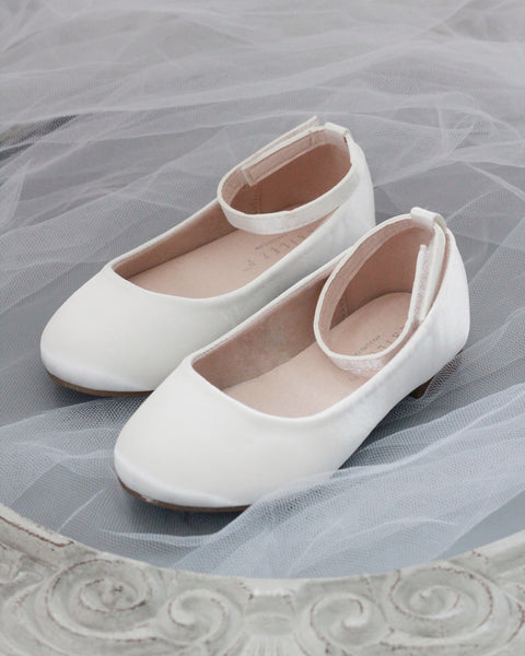 off white satin flower girls shoes
