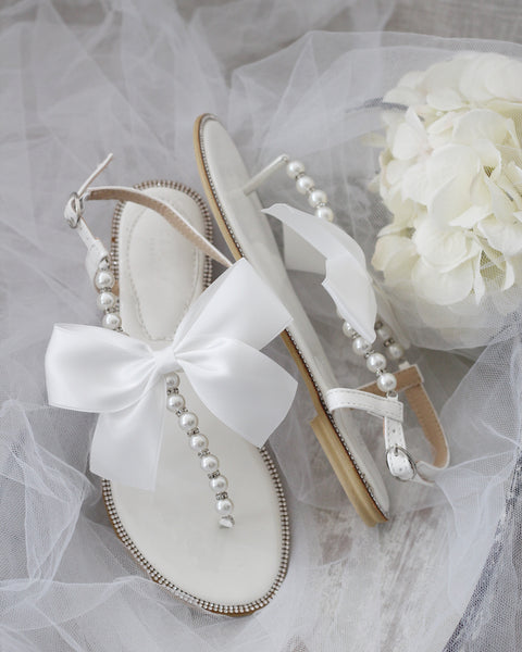 OFF WHITE T-Strap Pearl & Silver Beads Flat Sandals with Oversized Satin Bow