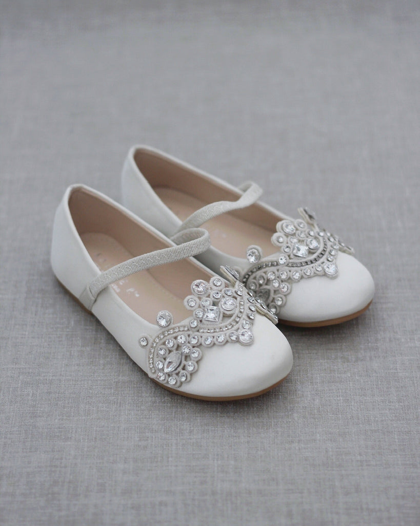 IVORY Satin Mary Jane Flats with SMALL RHINESTONES APPLIQUE