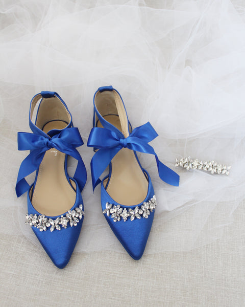 Royal Blue Satin Pointy Toe flats with FLORAL RHINESTONES Embellishment and Satin Tie